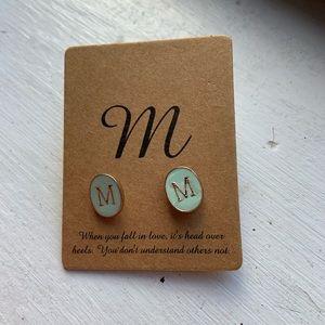 Letter M Teal Stud Earrings